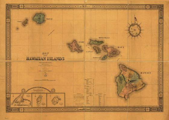 Map of The Hawaiian Islands Hawaii 1876 Antique Reprint Print/Poster (5378)